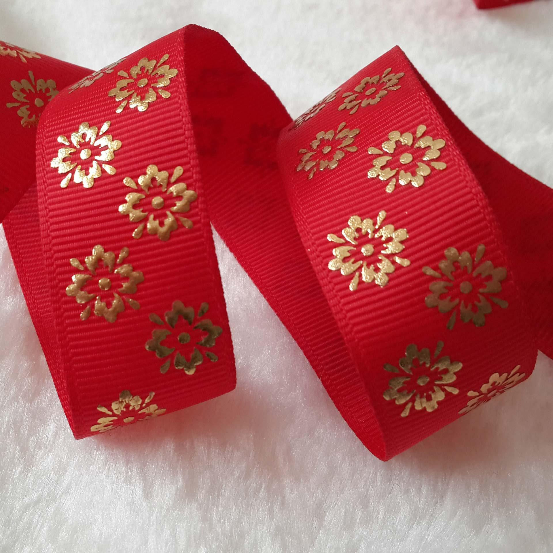 22MM发泡烫金 凹凸感金箔小花织带涤纶缎带丝带商标定做罗纹带