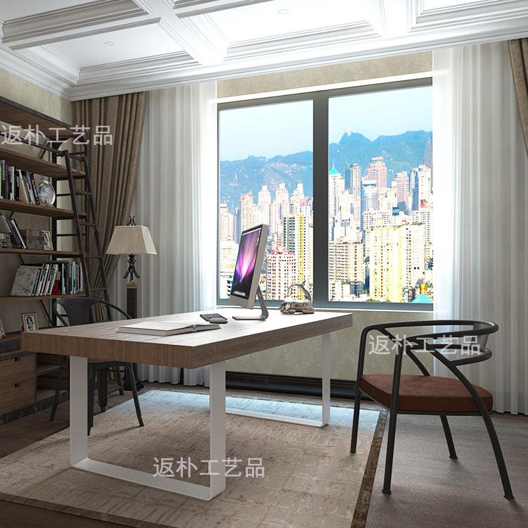 返朴美式办公桌 简易室内办公家具实木桌子老板洽谈会议桌可定制