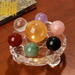 天然水晶球微景观 创意家居风水球 七彩七星阵 水晶球摆件镇宅