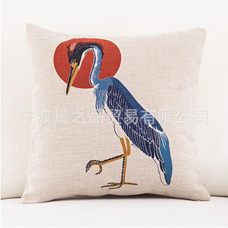 日式花纹布艺折扇浮世绘富士山民族风复古棉麻沙发靠垫抱枕靠枕