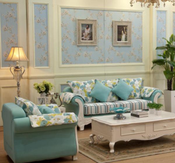韩式田园布艺沙发 地中海风格客厅组合 小户型实木家具图片