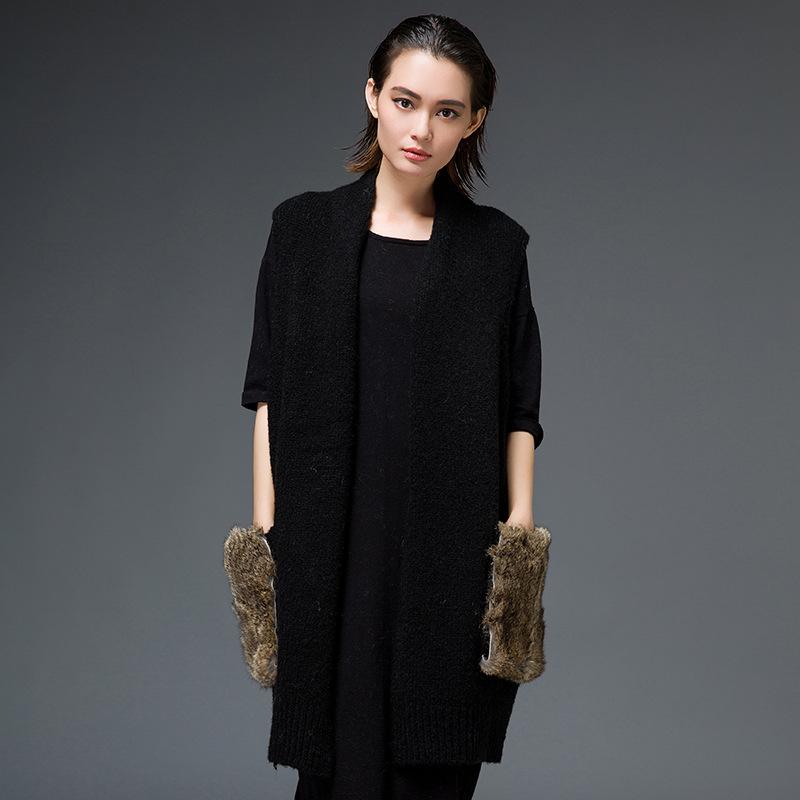 毛针织衫女开衫外套中长款宽松