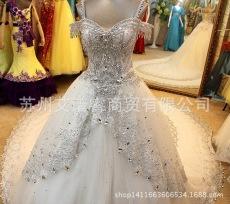 新款高档公主摆大拖尾奢华水钻甜心一字肩修身显瘦韩版婚纱