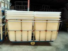厂家批发供应:染整厂用防腐塑料方桶推布车,耐老化方形塑胶推布车,优质耐用定型推布车