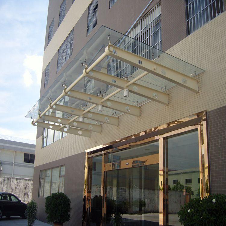 门口玻璃雨篷预算天台楼顶玻璃采光棚工程设计图纸造型及造价多.图片