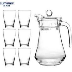 乐美雅玻璃冷水壶凉水杯耐热大容量家用套装凉水壶7件套N3544