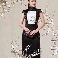 中式名族风连衣裙旗袍高档真丝桑蚕丝旗袍 长袖偏年轻的旗袍批发定制民族衣 旗袍