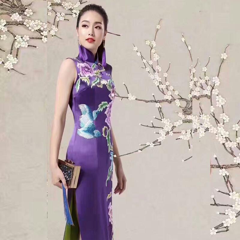 中式名族风连衣裙旗袍高档真丝桑蚕丝旗袍 长袖偏年轻的旗袍批发民族衣定制紫色旗袍