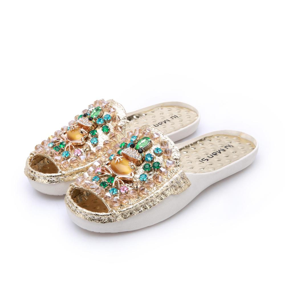 厂家直销夏季女款时尚休闲水钻凉拖 真皮防滑耐磨平跟女士拖鞋