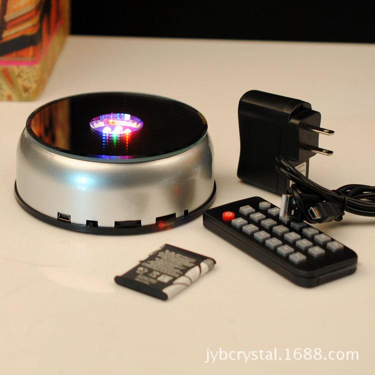 MP3音乐旋转灯座LED七彩水晶灯座旋转发光底座带遥控产品展示架