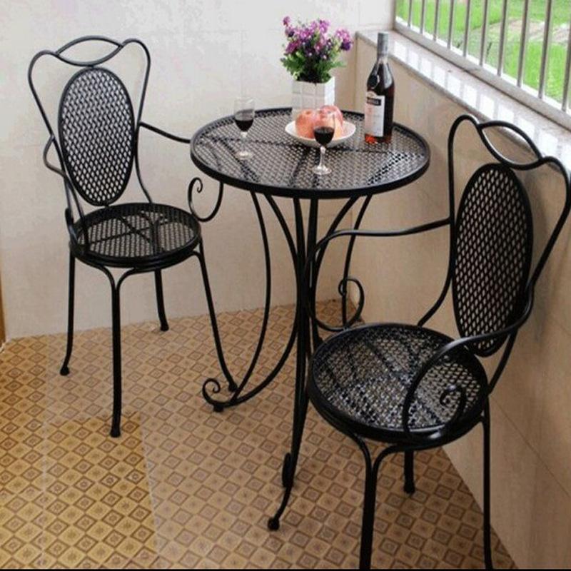 厂家直销欧式铁艺阳台茶几休闲咖啡厅桌椅庭院户外桌椅三件套组合
