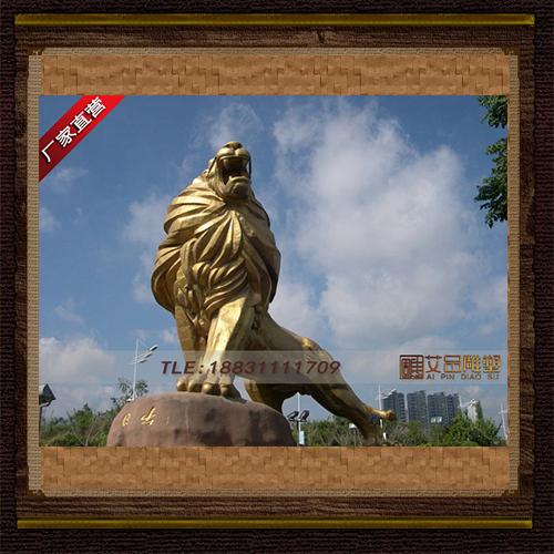 供应   贴金卧狮子入口门狮铜雕      厂家直销