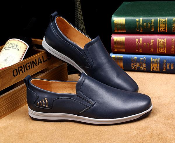 厂家直销乐福鞋男鞋休闲青年头层牛皮套脚板鞋潮单鞋懒人一脚蹬