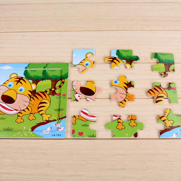 9片木质拼图拼板幼儿园女男孩儿童手工制作diy积木制