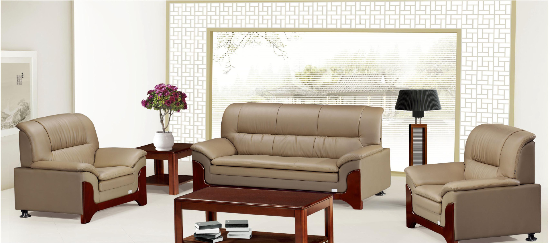 真皮办公沙发组合 商务会客办公沙发 高档会议办公沙发 生产定制