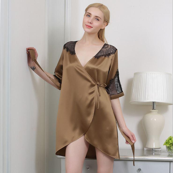 夏季新款100%桑蚕丝真丝睡衣短袖V领绸缎居家服睡衣女