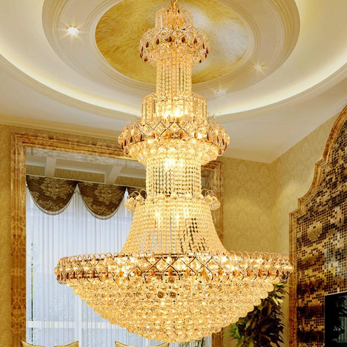 欧式金色水晶吊灯 客厅吊灯 楼梯间水晶吊灯 酒店大堂金色水晶灯