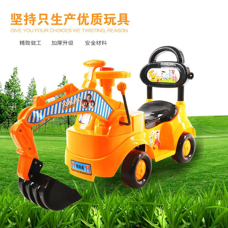 儿童滑行车挖掘机玩具可坐人可骑大号码滑行挖挖土机工程车