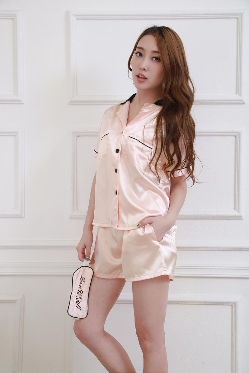 韩版睡衣女夏vivi明星同款短袖短裤性感家居服眼罩开衫翻领.
