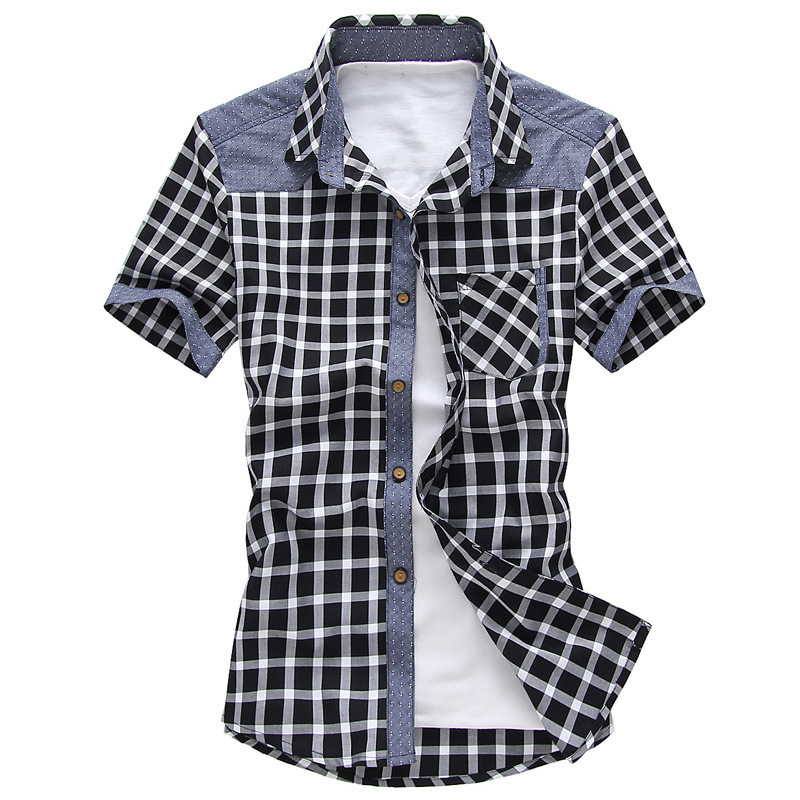 夏装新款短袖格子衬衫男韩版纯棉修身休闲青少年衬衣男潮一件代发