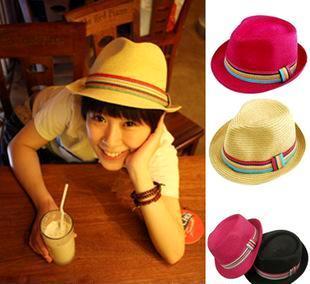 日式ViVi 潮人必备 编织小礼帽爵士帽草帽-彩虹条装饰带 男女通用