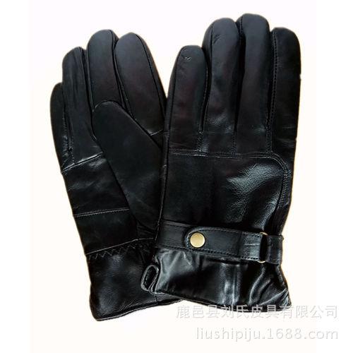 新款拼皮手套舒适保暖绵羊皮手背表带铜扣手套外贸手套