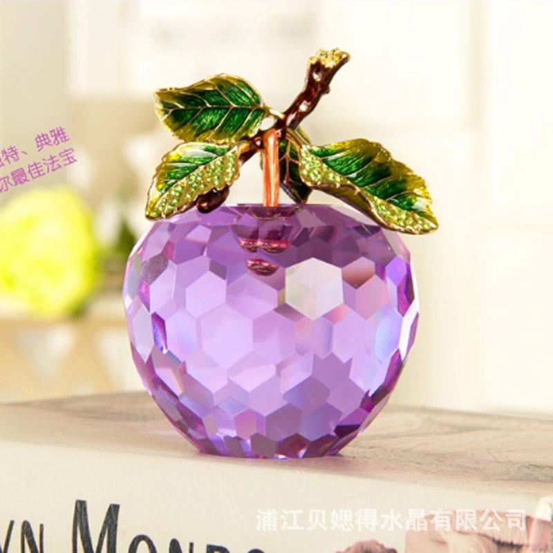 水晶苹果摆件 送女朋友同学闺蜜创意生日礼物 家居橱窗柜台摆设