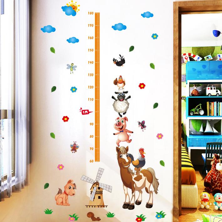 卡通牧场动物身高贴墙贴画可爱宝宝量身高幼儿园儿童房装饰xl8223