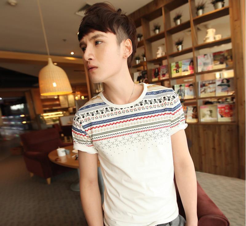 2014韩版小清新肩部民族风拼色男士修身圆领短袖T恤