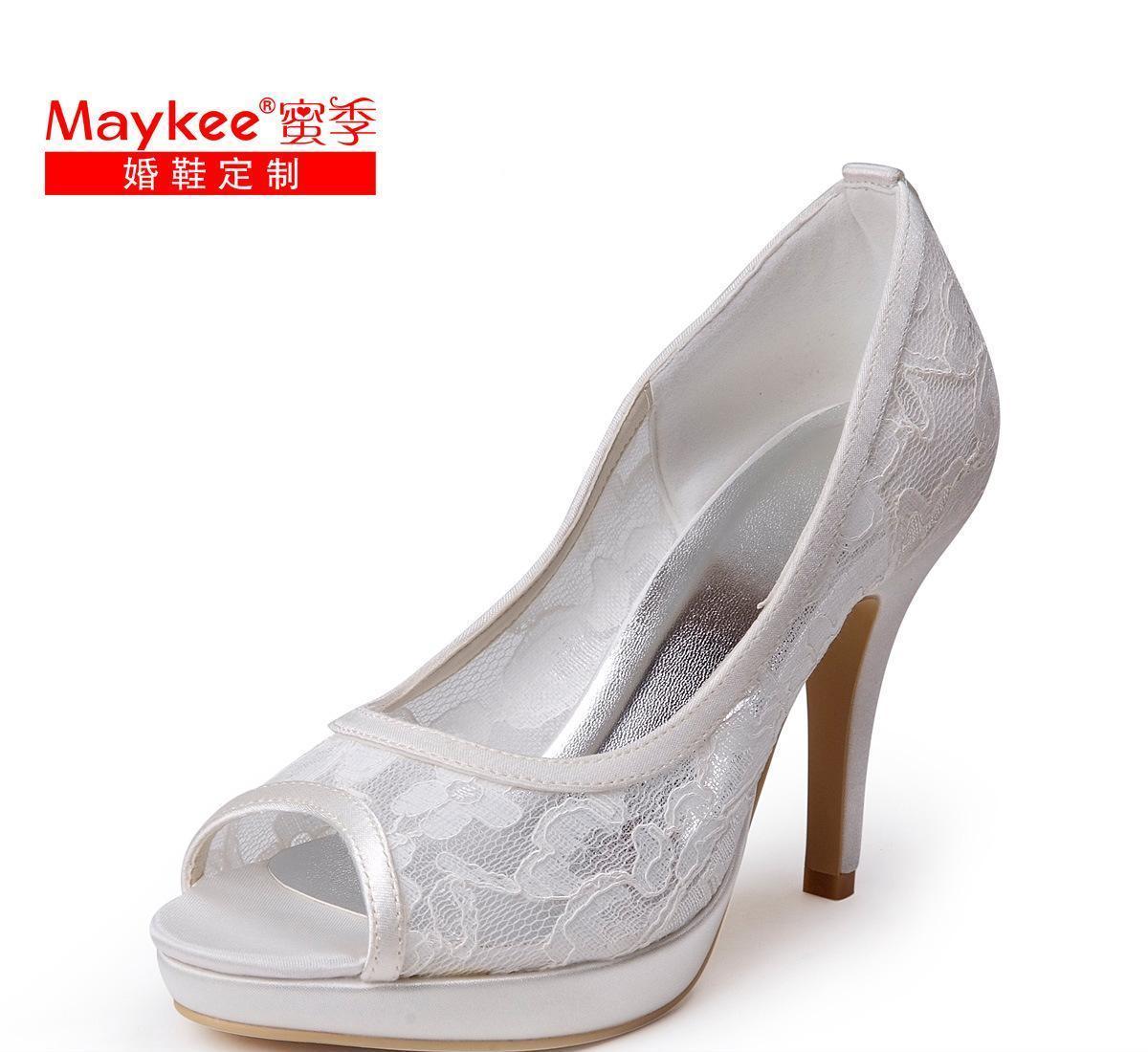 Maykee 蜜季初秋新品蕾丝高跟婚鞋晚宴鞋大码女鞋子