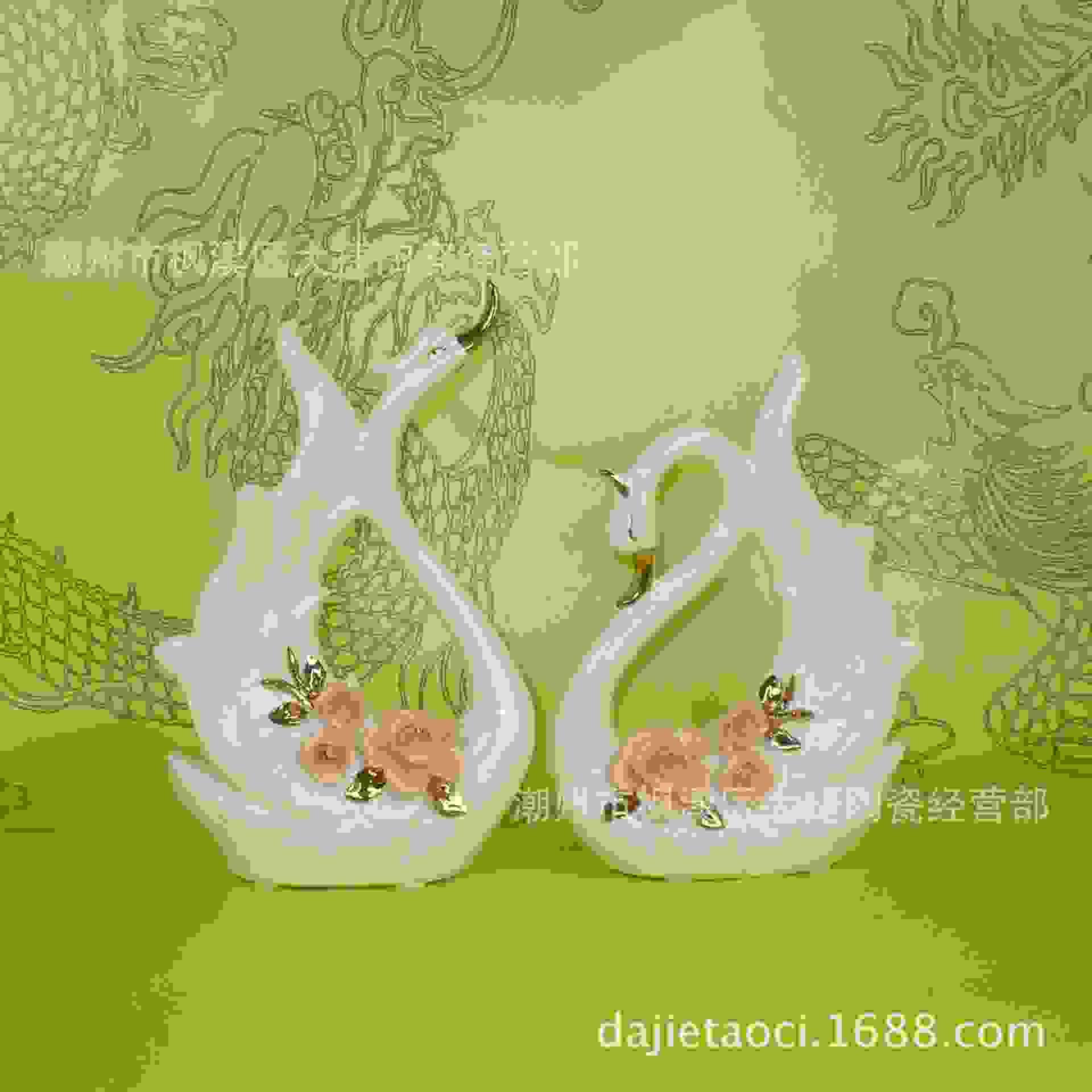 家居创意饰品客厅电视柜摆件酒柜摆设陶瓷描金天鹅工艺品婚礼礼品