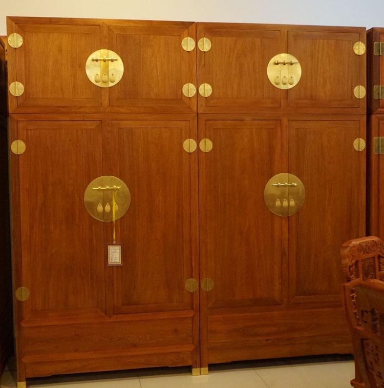 整体衣柜全实木简约现代中式4开平门红木花梨大衣橱卧室暗格柜子3图片