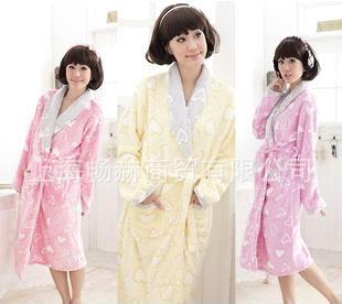宅美美)批发热卖冬季新款女士珊瑚绒睡衣睡袍家居服