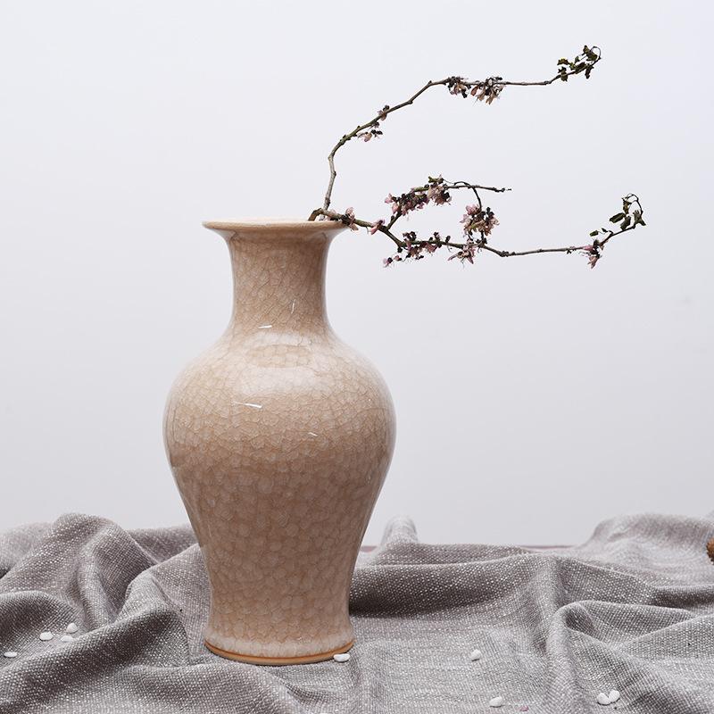 景德镇白冰片鱼尾花瓶家居装饰摆件复古摆件中式插花器0