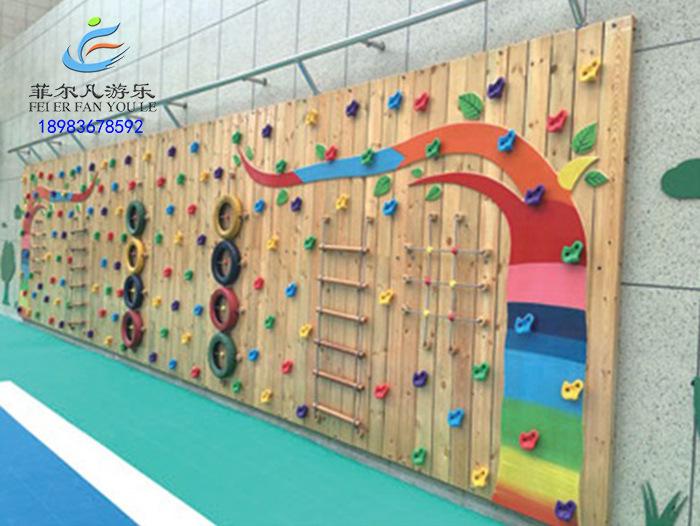 重庆幼儿园长廊木质儿童拓展户外木质攀岩墙儿童攀爬绳网木质滑.图片
