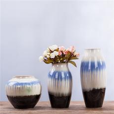 供应特色线条创意手工花瓶 家居装饰品 陶瓷艺术三件套 8169#