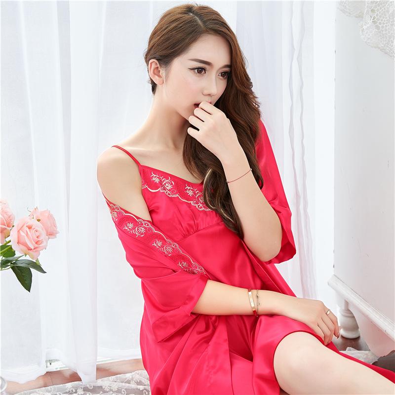 春夏季睡衣性感仿 真丝睡袍吊带两件套高贵诱惑家居服套装
