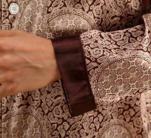特价批发 2013新款男士丝绸长袖睡衣 仿真丝红色男款结婚家居服