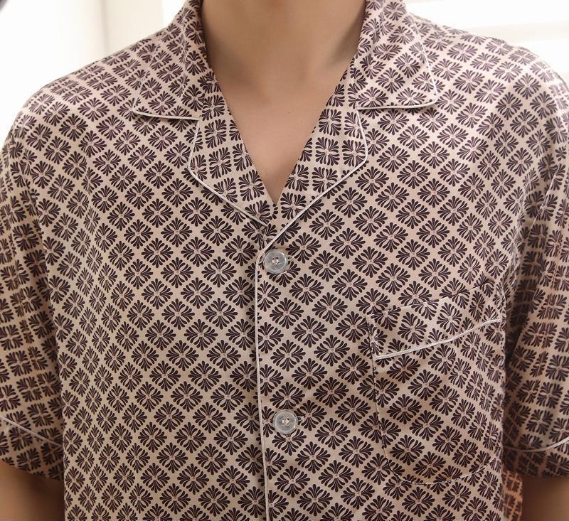 厂家批发 中老年2014新款丝绸开衫大码睡衣 加肥款仿真丝短袖睡衣