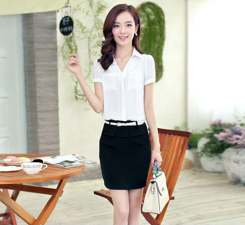 2014夏季新款韩版职业女装 OL气质雪纺短袖雪纺衫 两件套职业套裙