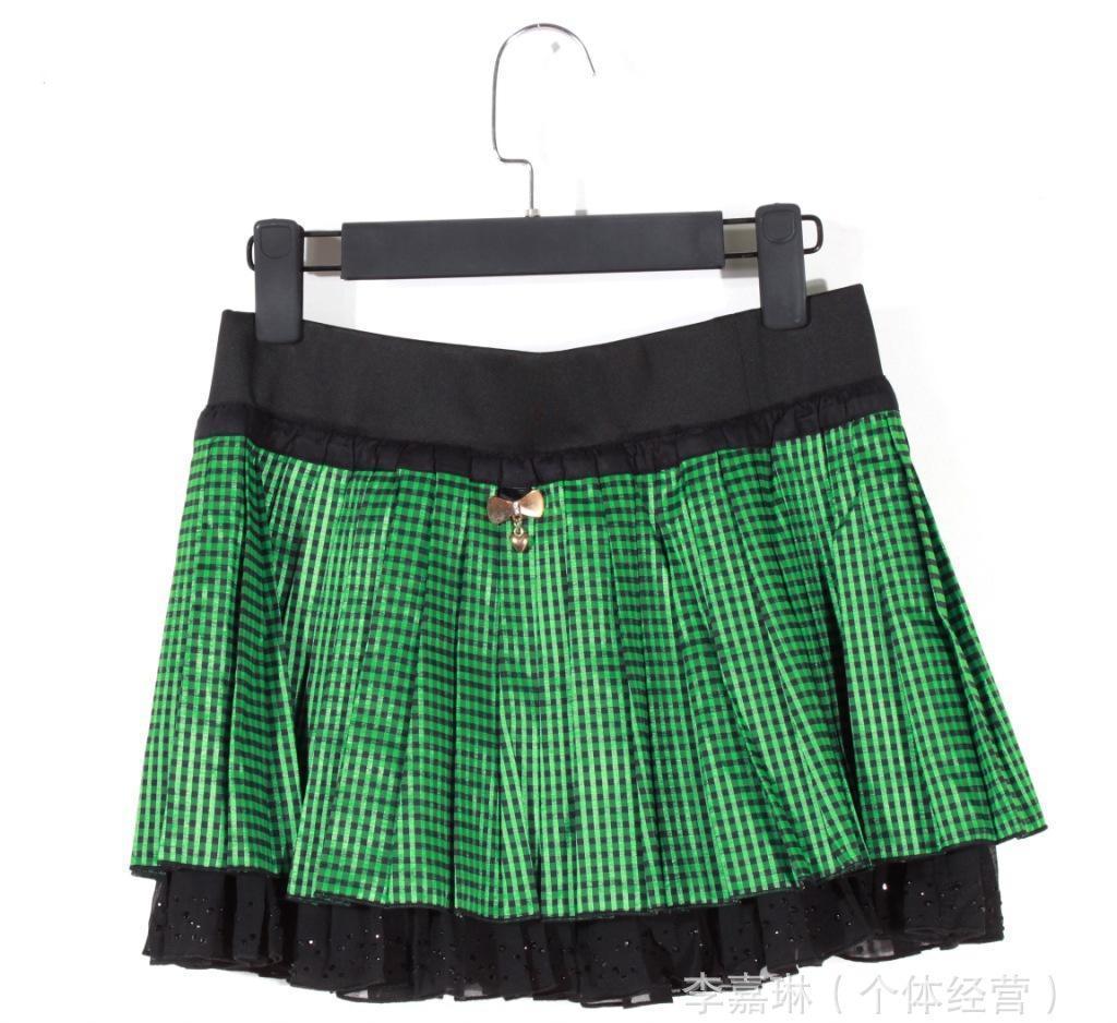 2014春夏新款批发欧美原单外贸时尚可爱百搭女款格仔短裙