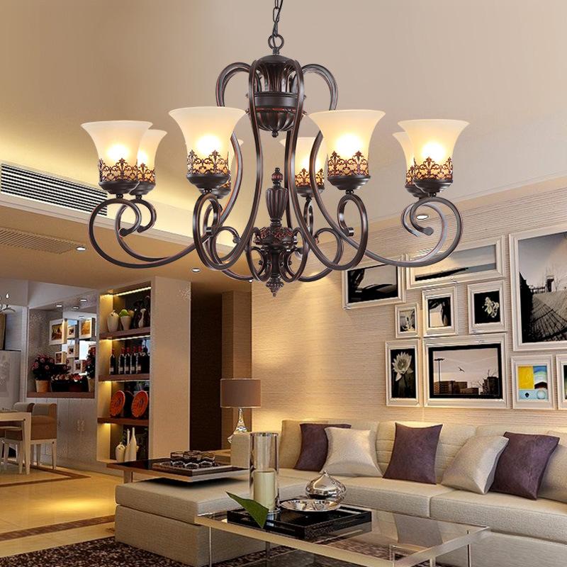 客厅吊灯 美式复古卧室餐厅灯具 欧式简约别墅工程灯饰 工厂批发图片