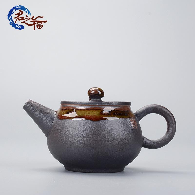 老岩泥手工茶壶 粗陶黑陶功夫茶具单壶 铁陶釉陶瓷泡茶器批发