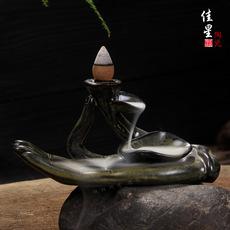 创意观音佛手倒流香炉塔香熏香檀香家居摆件陶瓷香炉厂家直销批