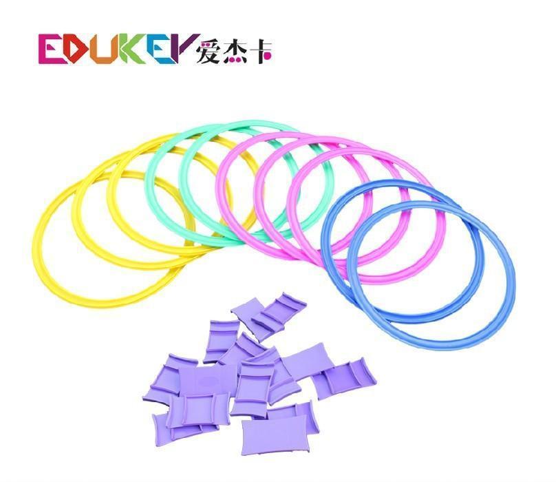 爱杰卡 新品幼儿园玩教具跳格子跳房子创意格子 套圈儿童玩具