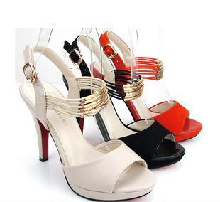 新品2012夏季新款金属装饰凉鞋鱼嘴鞋高跟防水台女凉鞋百搭女鞋