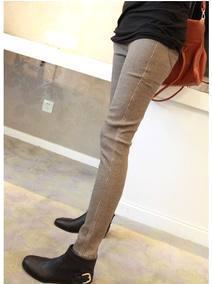 热销韩版时尚加厚显瘦小格子小脚裤 打底裤 黑色 卡其