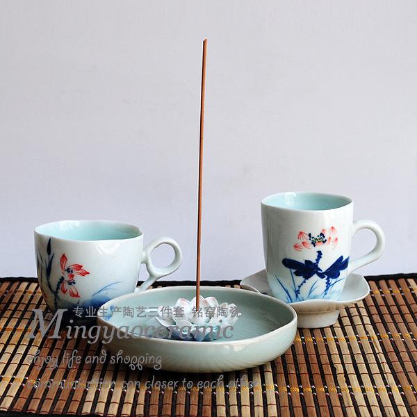 供应线条精美花瓶 家居装饰品 陶瓷艺术三件套 现代工艺品 8084#