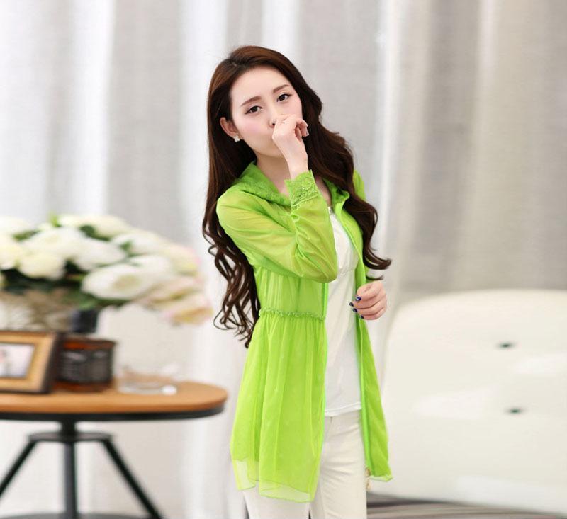 2014夏季新款韩版防紫外线防晒衣 空调衫长袖透明防晒衫服开衫女