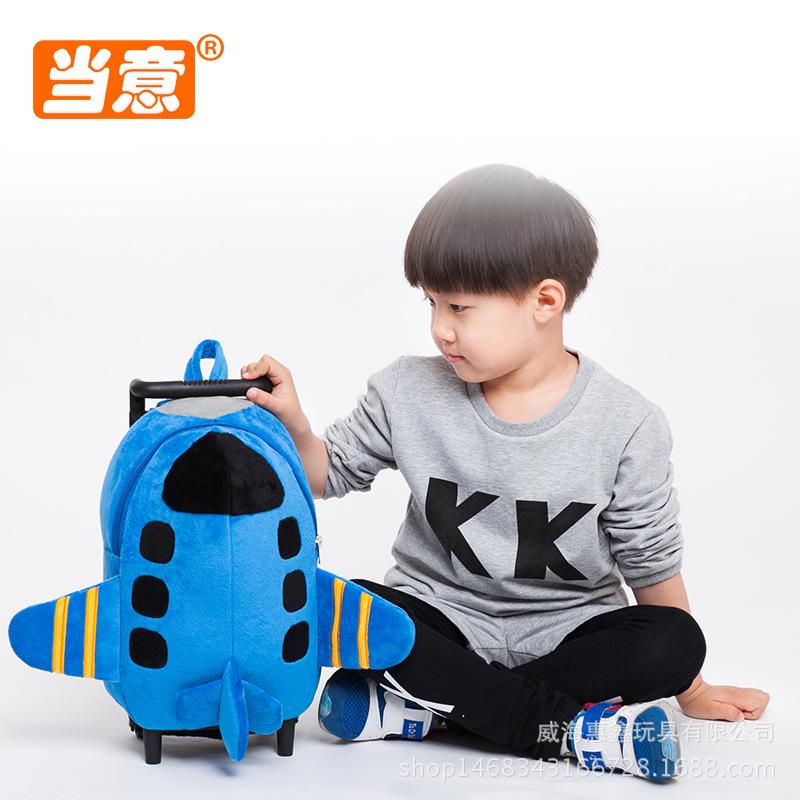 1-6岁幼儿园书包 儿童旅行拉杆背包 男女小孩卡通毛绒双肩玩具包图片